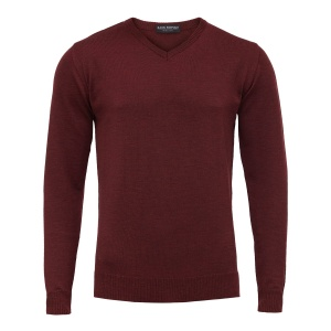 Bordowy sweter Merino v-neck