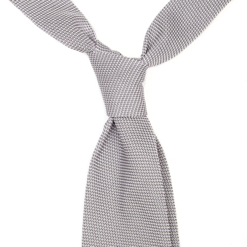 four in hand tie knot silver grenadine unlined