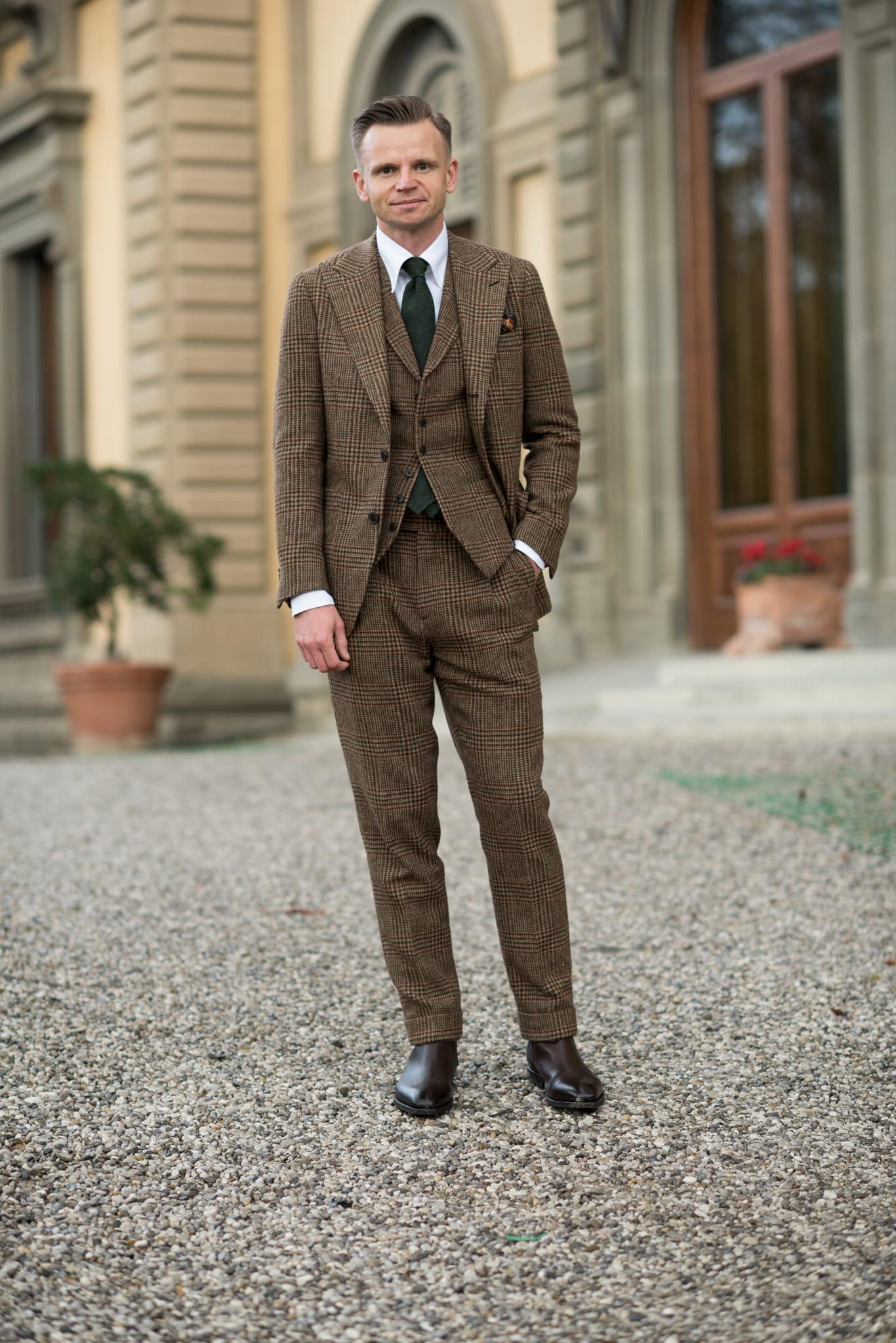 76ad005822e2b Brązowe spodnie tweedowe Pitti Uomo dla mężczyzn, tweedowe spodnie
